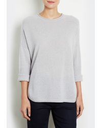 INHABIT | Gray Cropped Sleeve Pullover | Lyst