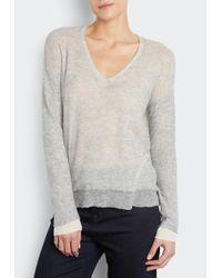 INHABIT | Gray Double Layered V-neck | Lyst