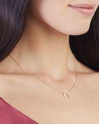Jacquie Aiche - Metallic Pavé Mini Crescent Necklace - Lyst