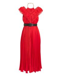 4e9ef1b4c08a51 Self-Portrait Off-shoulder Pleated Dress in Red - Lyst