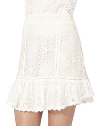 Flannel - White Chantilly Lace Frill Skirt - Lyst