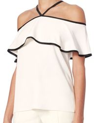 Alexis - White Isa Silk Piping Off The Shoulder Top - Lyst