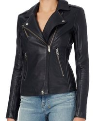 IRO - Blue Exclusive Tara Leather Moto Jacket: Navy - Lyst