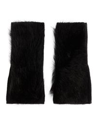 Yves Salomon - Black Shearling Lamb Fingerless Gloves - Lyst