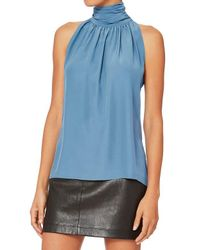 Barbara Bui - Blue High Neck Sleeveless Blouse - Lyst