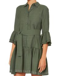 10 Crosby Derek Lam - Green Grommet Hem Flounced Shirtdress - Lyst