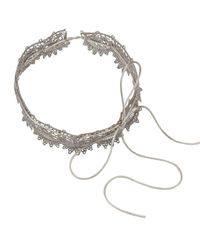 Fallon - Metallic Andalusia Scalloped Lace Choker - Lyst