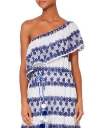 Miguelina | White Madeline One Shoulder Baby Pineapple Dress | Lyst