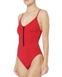 Onia | Arianna Half Zip Red One Piece Swimsuit | Lyst