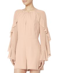 Exclusive For Intermix - Natural Molly Ruffle Sleeve Romper - Lyst