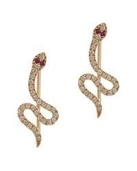 Sydney Evan - Metallic Pavé Diamond & Ruby Snake Wire Earring - Lyst