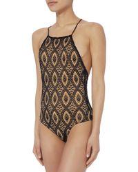 Nightcap - Black Open Back Lace Bodysuit - Lyst