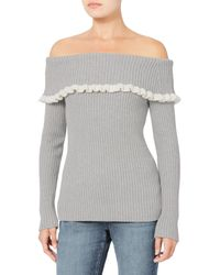 Exclusive For Intermix - Gray Raylynn Ruffle Off Shoulder Sweater - Lyst