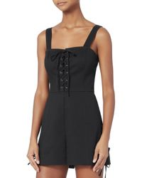 Exclusive For Intermix - Black Jules Lace-up Romper - Lyst