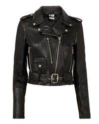 Re/done - Vintage Black Leather Moto Jacket - Lyst