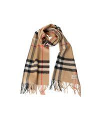 Burberry | Beige Camel Giant Check Woolsilk Gauze Scarf | Lyst