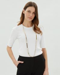 Jaeger - Metallic Katie Skinny Sparkle Station Necklace - Lyst