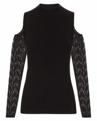 Jaeger - Black Lace Cut-out Sweater - Lyst