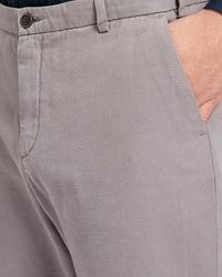 Jaeger - Gray Cotton Slim Textured Trousers for Men - Lyst