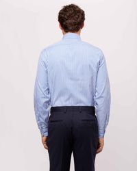 Jaeger - Blue Cotton End On End Slim Bold Stripe Shirt for Men - Lyst