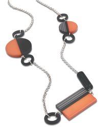 Jaeger - Orange Graphic Resin Station Necklace - Lyst