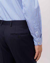 Jaeger - Blue Cotton End On End Slim Bold Stripe Shirt for Men - Lyst
