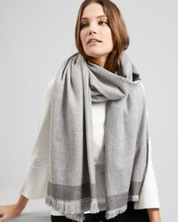 Jaeger - Gray Double Faced Scarf - Lyst