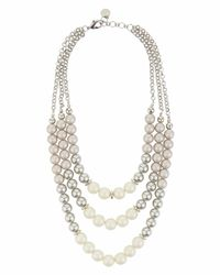 Jaeger - Metallic 3 Row Big Pearl Necklace - Lyst