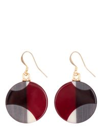 Jaeger - Red Graphic Resin Disc Earring - Lyst