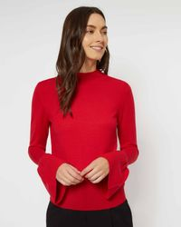 Jaeger - Red Wool Fluted Sleeve Sweater - Lyst