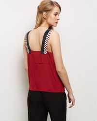 Jaeger - Red Silk Colour Block Panel Top - Lyst