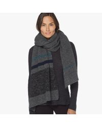 James Perse | Gray Wool Blend Striped Scarf | Lyst