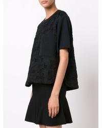 Jason Wu - Black Short Sleeve Cloque Top - Lyst