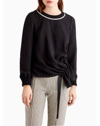 Jason Wu - Black Long Sleeve Top With Ribbed Collar - Lyst