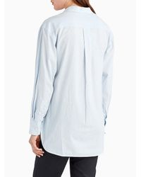 Jason Wu - Blue Button Down Stripe Shirt With Embroidery Detail - Lyst
