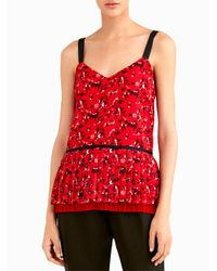 Jason Wu - Red V Neck Pleated Cami - Lyst