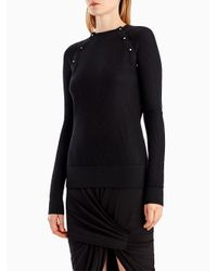 Jason Wu - Black Merino Silk Crew Button Detail Sweater - Lyst