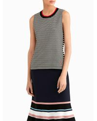 Jason Wu | Multicolor Stripe Jersey Top With Contrast Crew Neck | Lyst