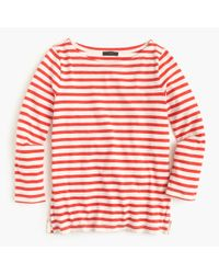 J.Crew | Red Striped Boatneck T-shirt | Lyst