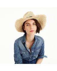 J.Crew - Blue Embellished Packable Straw Hat - Lyst