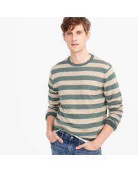 J.Crew - Gray Wool-cotton Crewneck Sweater In Wide Stripe for Men - Lyst