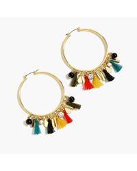 J.Crew - Multicolor Tassel Hoop Earrings - Lyst