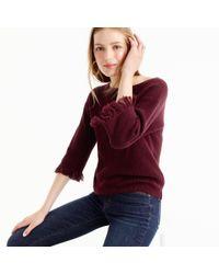 J.Crew | Purple Crewneck Sweater With Fringe | Lyst