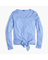J.Crew - Blue Tie-front Long-sleeve T-shirt - Lyst
