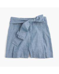 J.Crew - Blue Tie-waist Short In Chambray - Lyst