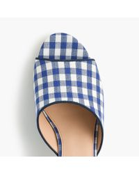J.Crew - Blue All-day Mules (60mm) In Gingham - Lyst