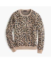 J.Crew - Multicolor Merino Crewneck Sweatshirt In Leopard - Lyst