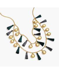 J.Crew | Metallic Tassel Double Strand Necklace | Lyst