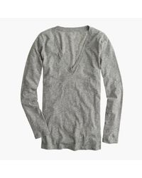 J.Crew | Gray Vintage Cotton Long-sleeve V-neck T-shirt | Lyst
