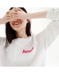 "J.Crew - White ""amour"" Sweatshirt - Lyst"